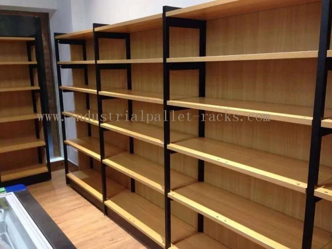 Metal Frame Wood Board Light Duty Shelving / Display Racks For Grocery Stores