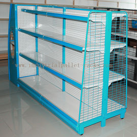 Gondola Shelving Blue Light Duty Display Rack With Wire Mesh or Steel Board Side