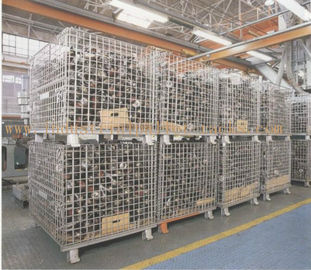 "China Heavy Weight Foldable Collapsible Wire Containers W47"" X D39"" X H35"" In Zinc plate Finishes supplier"