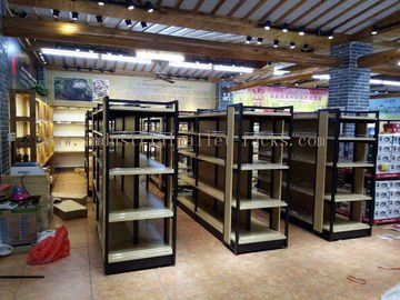 China Supermarket Industrial Pallet Racks Metal / Wood Display Shelving Double Sided supplier