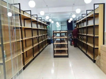 China Metal Frame Wood Board Light Duty Shelving / Display Racks For Grocery Stores supplier