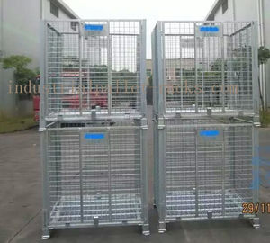 China Large Stackable Steel Wire Mesh Cage W1200 * D1000 * H890mm Galvanized Finishes supplier