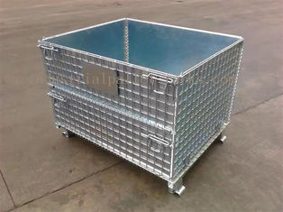 China Space Saving Warehouse Equipments Wire Container Storage Cages With Blue Plastic Board supplier