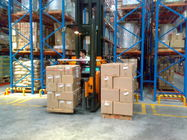 Logistic cental very narrow aisle racking with mast / fork head rotation