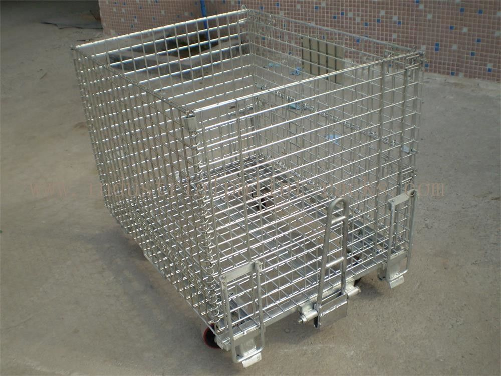 50mm 50mm Wire Mesh Containers 4 Wheels Folding Wire Containers