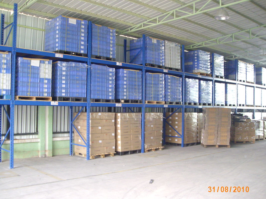 adjustable two level warehouse shelving racks with forklift moving rh industrialpallet racks com