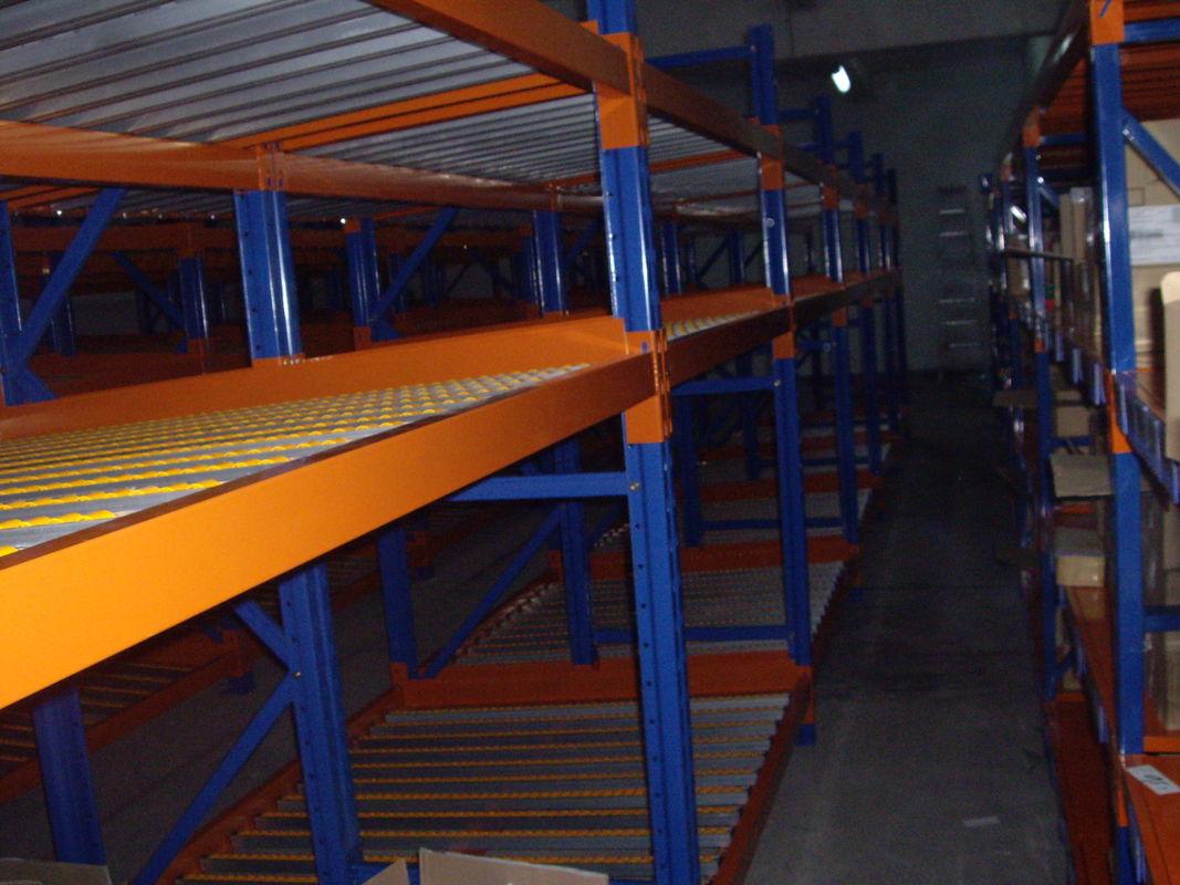 blue orange pallet flow racking high density industrial storage shelves - Industrial Storage Racks